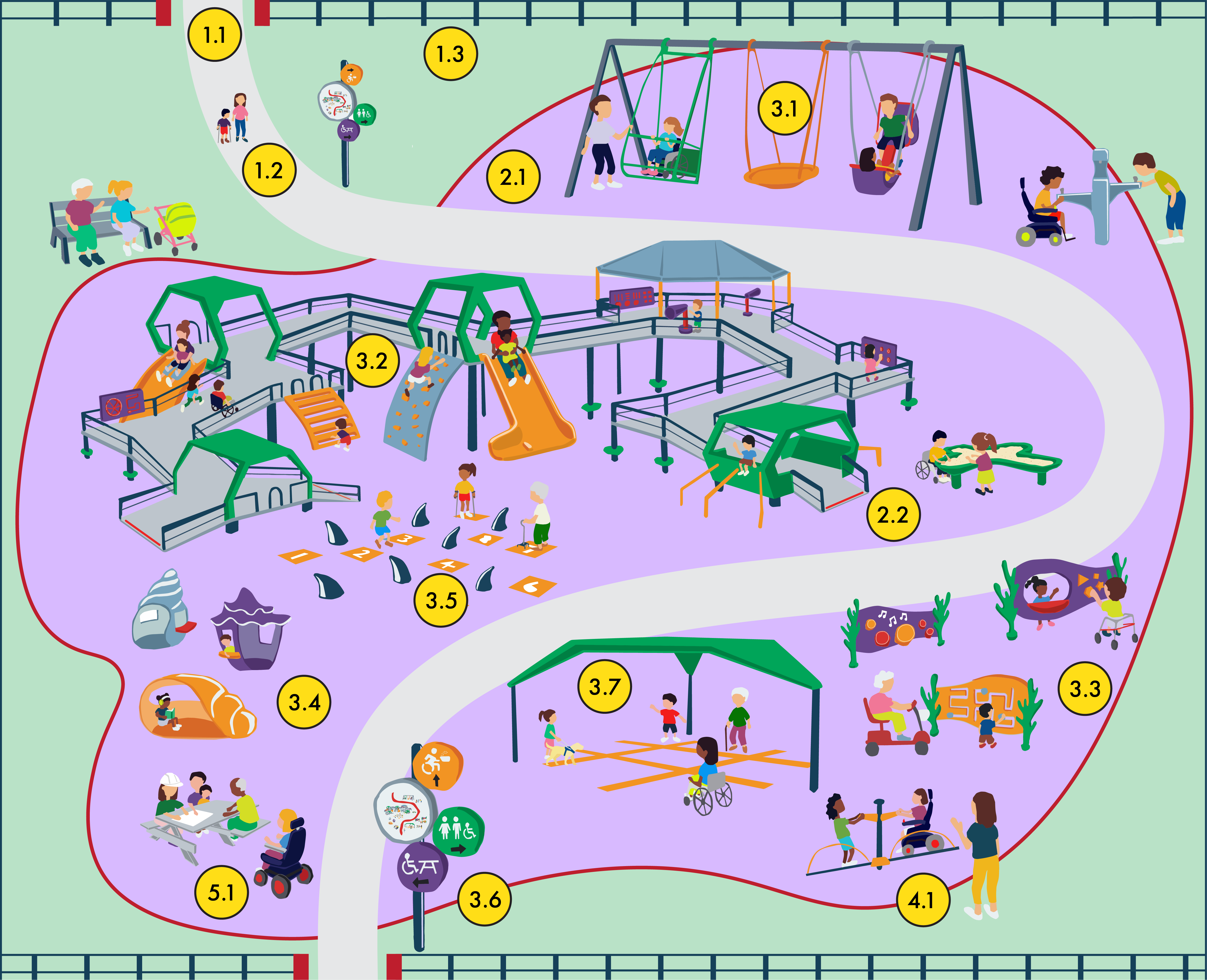 Diagram of an inclusive playground shows children of all ages and abilities playing in a playground, illustrating the evidence-informed recommendations for designing inclusive playgrounds.